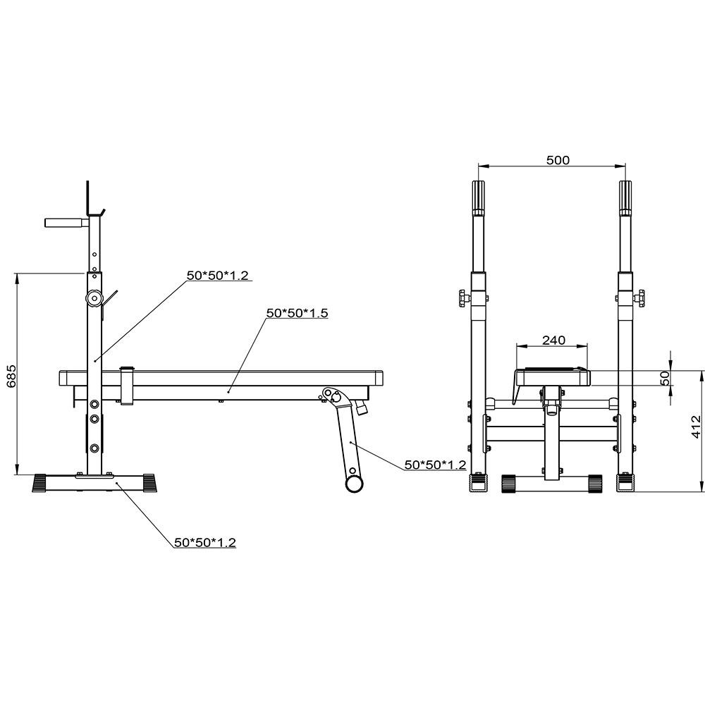 Силовая скамья для жима со стойками Galafit SK200